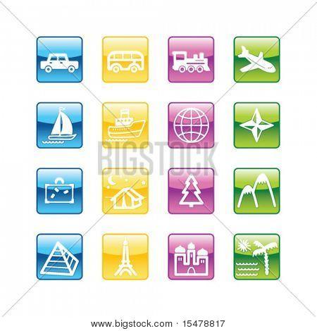 Ícones de viagens Aqua. Arquivo de vetor tem camadas, estão incluídos todos os ícones em quatro versões.