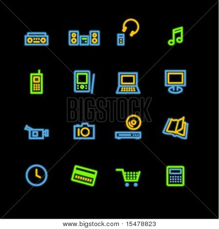 neon home electronics icons