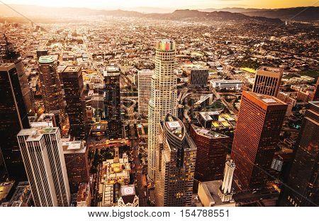 aerial view of los angeles skyline at dusk