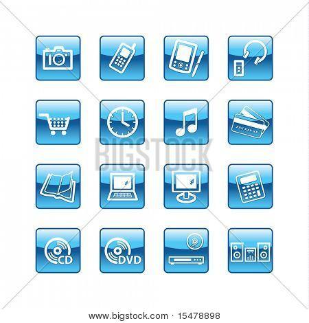 blue aqua  home electronics icons (raster)