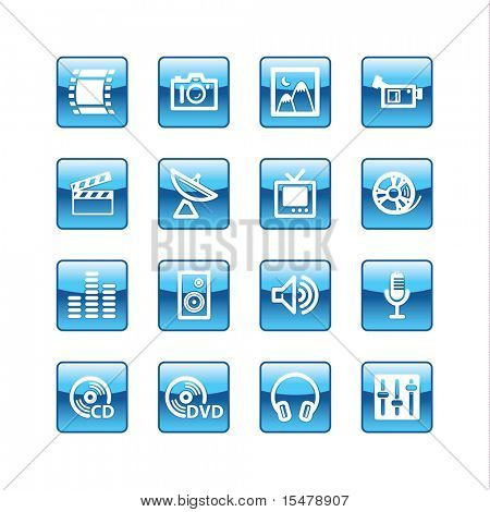 blue aqua media icons (raster)