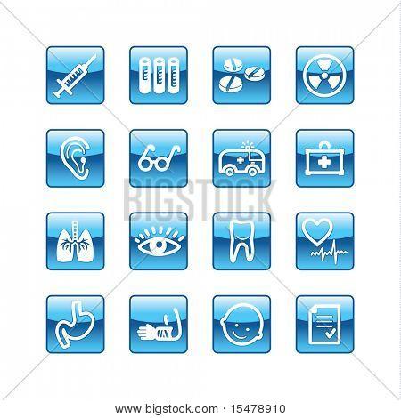 blue aqua medicine icons (raster)