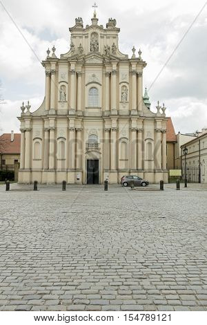 An old church in the city of Warsaw Poland