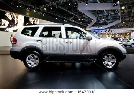 Moscow, Russia - August 25:  Grey Jeep Car Kia Mohave At Moscow International Exhibition Interauto O