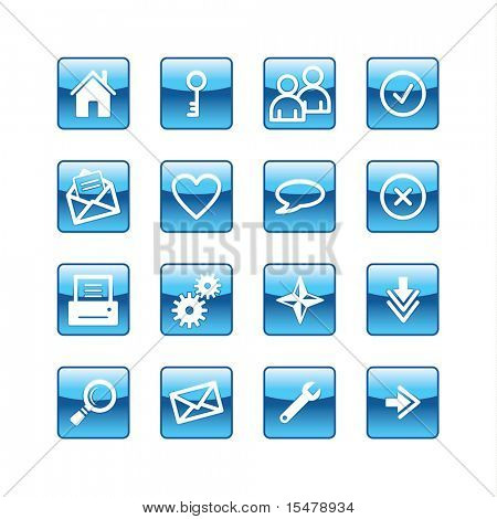 blue aqua basic web icons (raster)