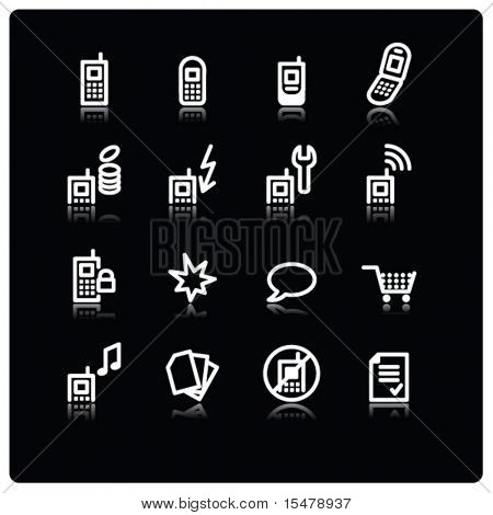 white mobile phone icons