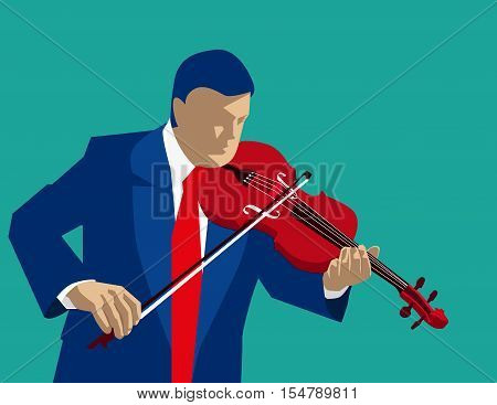 Playing Violin. Concept Business Illustration. Vector Flat