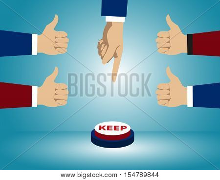 Push Button Investment. Concept Business Illustration. Vector Flat