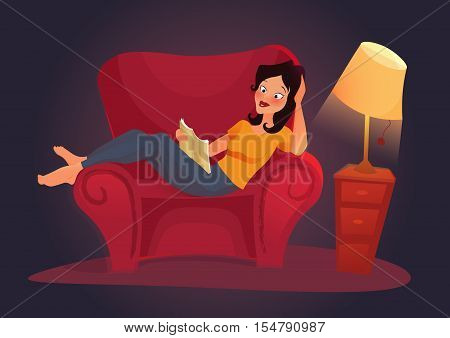Vector living room with woman. Flat illustration. Pretty Female Student Reading Book at home. girl reading book lying on couch in the evening.
