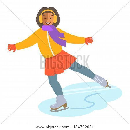 Girl figure ice skating vector flat illustration. Kids winter activities. Child in casual warm clothes playing winter sport on Christmas holidays. Moving cartoon character. Isolated on white