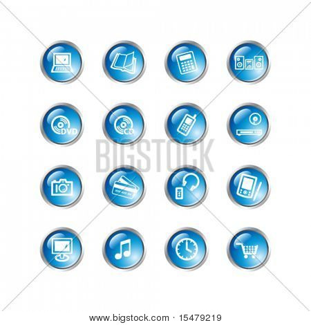 iconos de electrónica gota azul