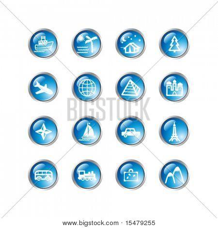 ícones de viagens gota azul