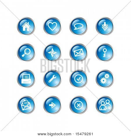 blau Drop grundlegende Web icons