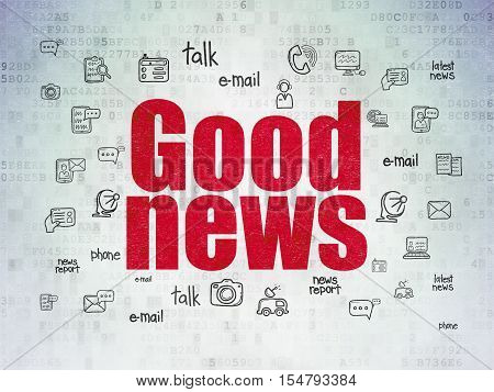 News concept: Painted red text Good News on Digital Data Paper background with  Hand Drawn News Icons