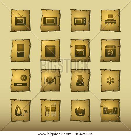 Papyrus-Haushaltsgeräte-Symbole