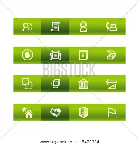 Green bar building icons. Vector file has layers, all icons in two versions are included.