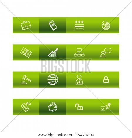 Green bar business icons. Vector file has layers, all icons in two versions are included.