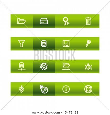 Green bar server icons. Vector file has layers, all icons in two versions are included.