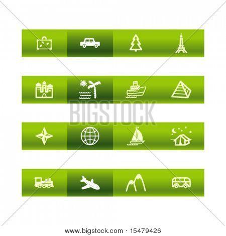 Green bar ícones de viagens. Arquivo de vetor tem camadas, estão incluídos todos os ícones em duas versões.