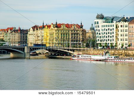 View on brige river and Dancing house