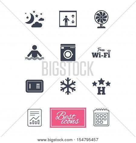 Hotel, apartment service icons. Washing machine. Wifi, air conditioning and swimming pool symbols. Report document, calendar icons. Vector
