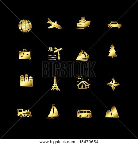 Gold travel icons