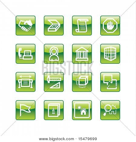 green aqua building icons (raster)