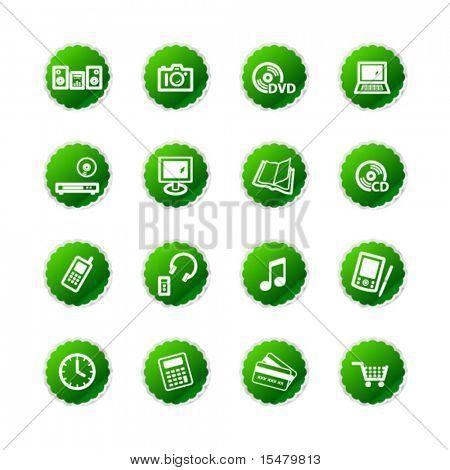 ícones de loja etiqueta verde