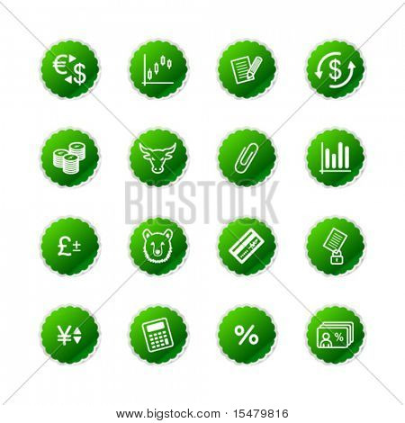 green sticker finance icons