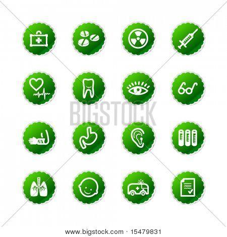 green sticker medicine icons