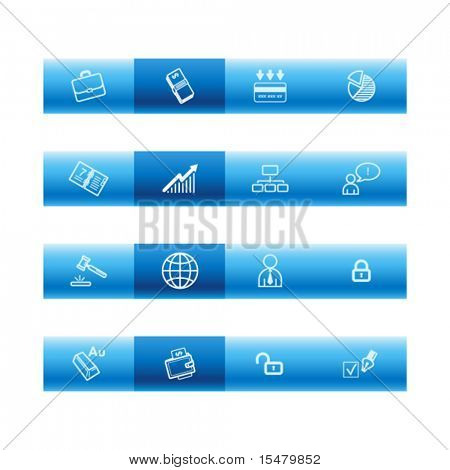 Blue bar business icons