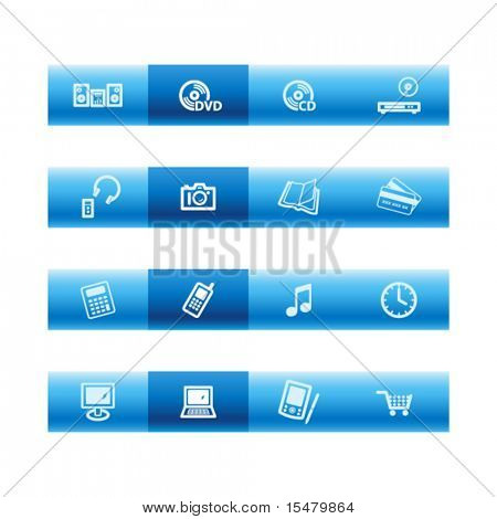 Blue bar home electronics icons