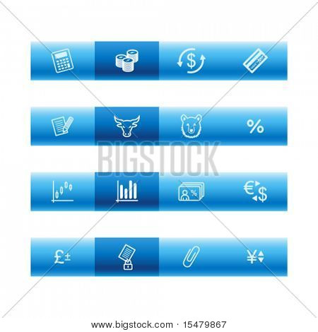 Blue bar finance icons