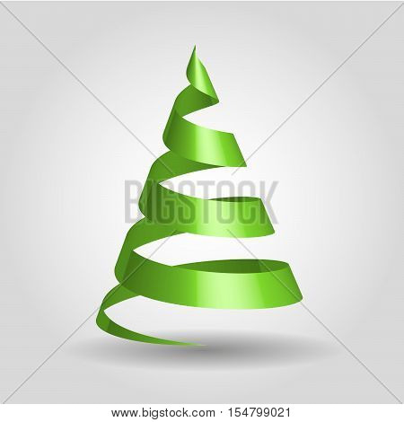 Simple green ribbon in a shape of Christmas tree. 3D vector illustration with dropped shadow and gradient background.