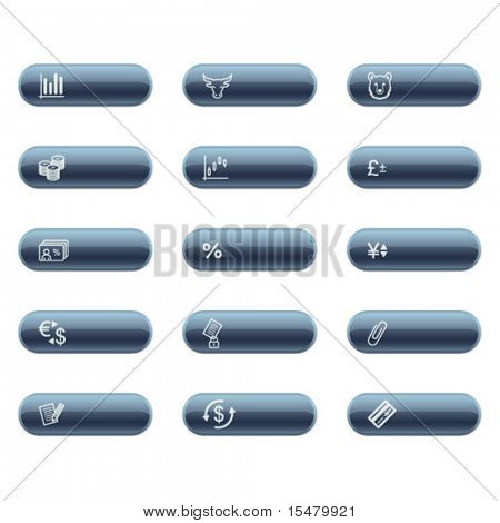 mineral buttons with finance icons
