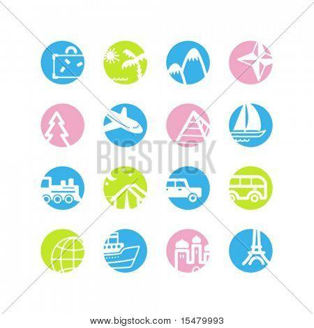 ícones de viagens de círculo de Primavera