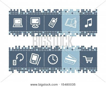 Blue dots bar with e-shop icons. Vector file has layers, all icons in two versions are included.