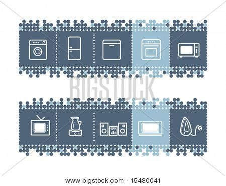 Blue dots bar with household appliances icons. Vector file has layers, all icons in two versions are included.