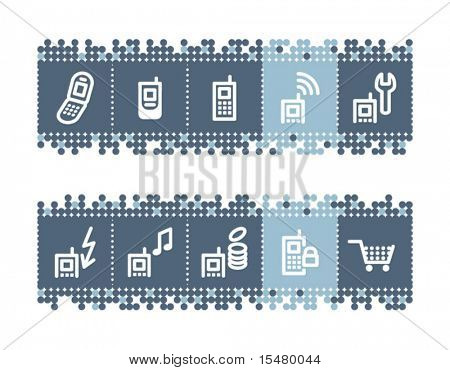 Blue dots bar with mobile phone service icons. Vector file has layers, all icons in two versions are included.