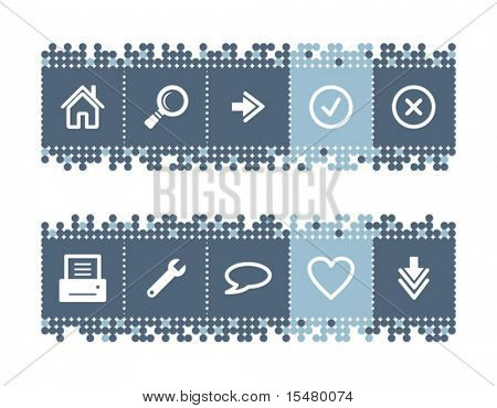 Blue dots bar with web icons. Vector file has layers, all icons in two versions are included.