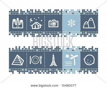 Blue dots bar with tourist guide icons. Vector file has layers, all icons in two versions are included.