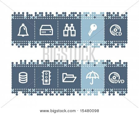 Blue dots bar with file-server icons. Vector file has layers, all icons in two versions are included.
