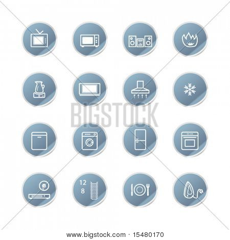blue sticker household appliances icons