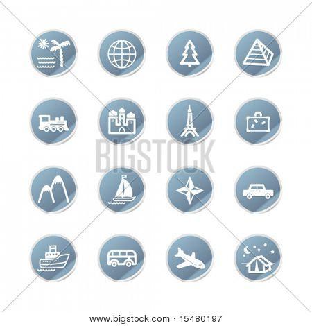 blue sticker travel icons