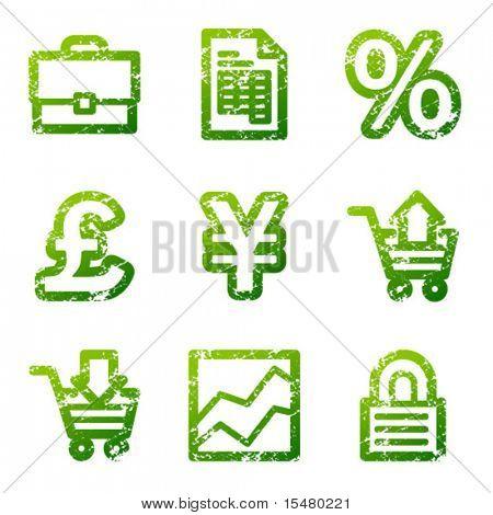 Green grunge e-business contour icons V2