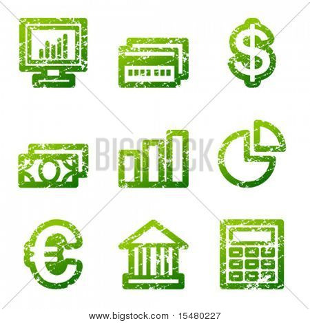 Green grunge finance contour icons V2