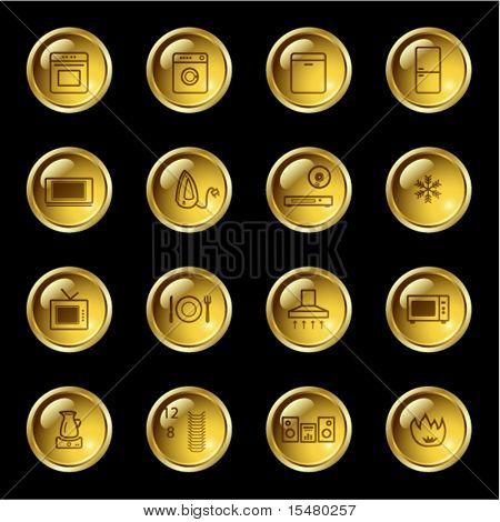 Gold drop househol appliances icons