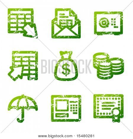 Green grunge banking contour icons V2