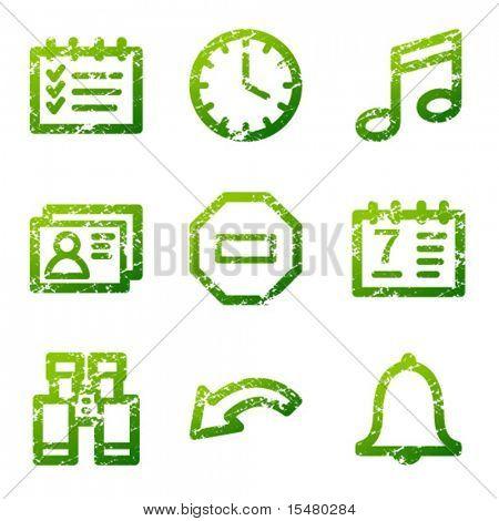 Green grunge organizer contour icons V2