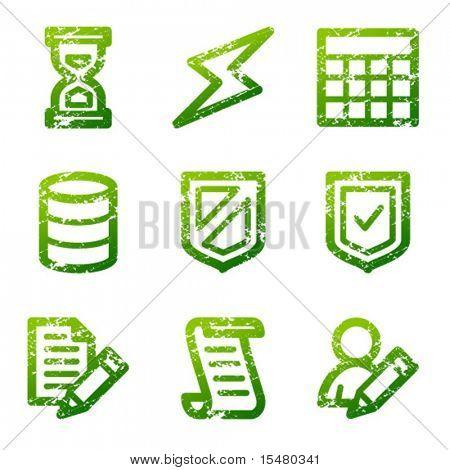 Green grunge database contour icons V2